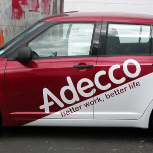 Addeco branding on car
