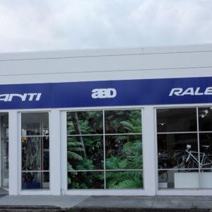 Full window signage for Whangarei bike shop