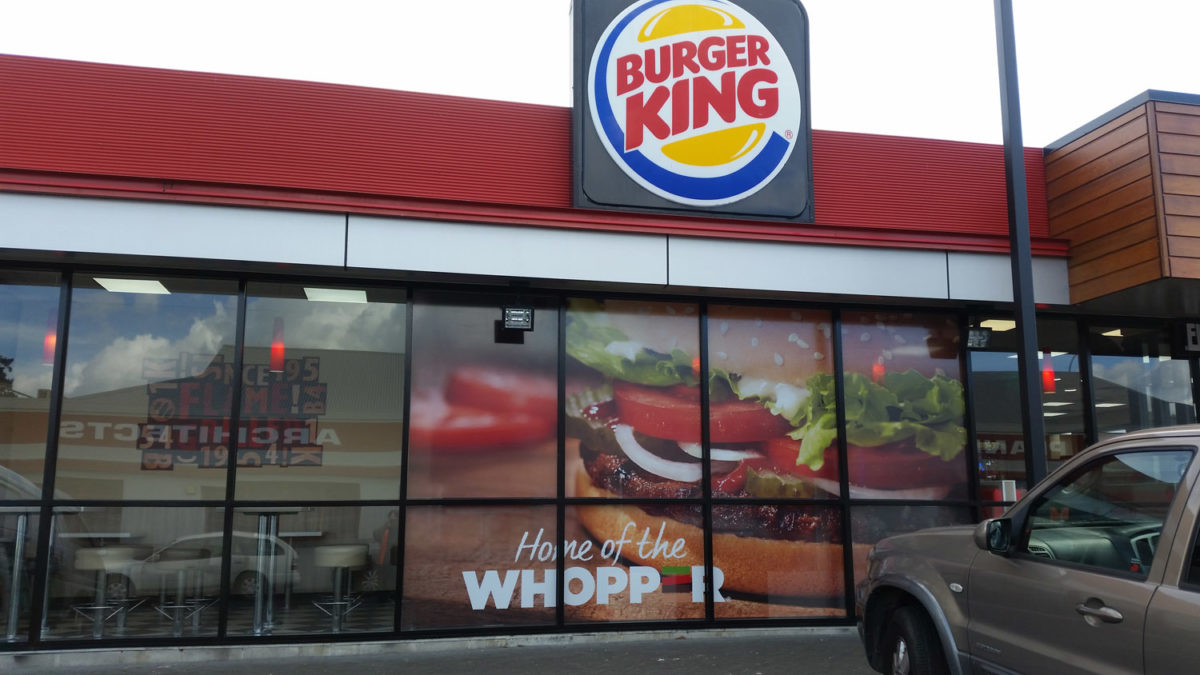 Burger King window signage in Whangarei