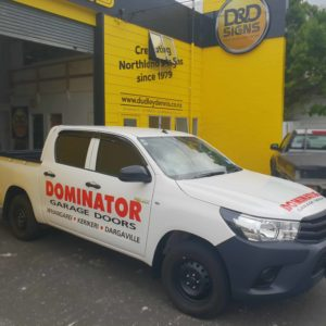 Dominator Garages vehicle sign writing