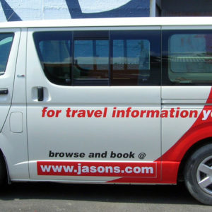 Sign writing on Jasons Travel van