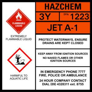 Jet A-1 hazchem sign