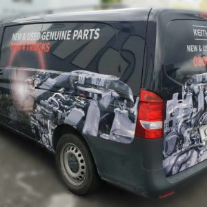 KAT Parts van sign wrap left side