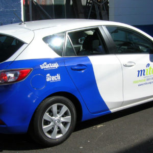 Sign writing on hatchback