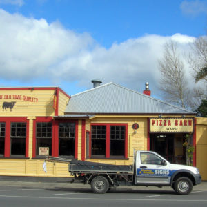 Waipu sign writing on Pizza Barn