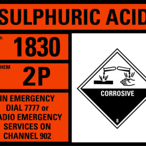 Sulphuric Acid hazchem sign