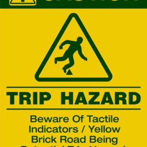 Tauraroa Trip Hazard sign