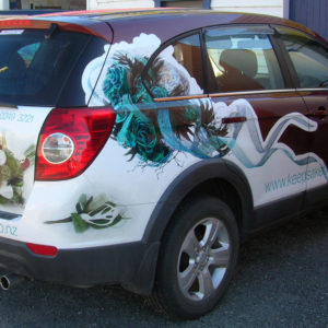 Partial wrap of promo vehicle