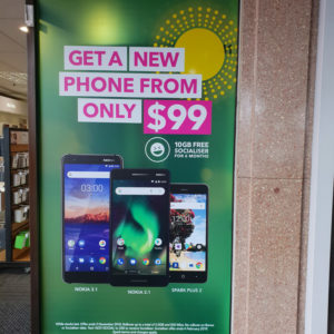 Promo sign for mobile phone company in Whangarei