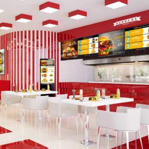 fast food menus on digital screens