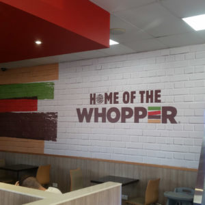 Burger King internal sign writing