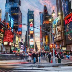 digital screens in large city