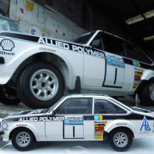 Matching signage on model rally car