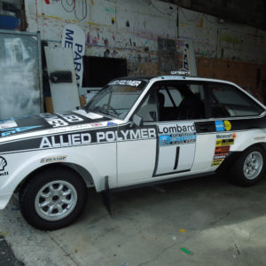 Sign writing on rally car