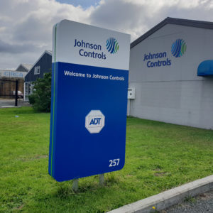 Driveway entrance sign for Johnson Controls