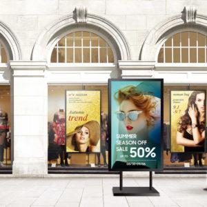 Digital screens on pavement