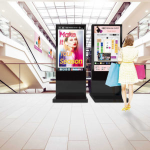 digital screens in shopping area