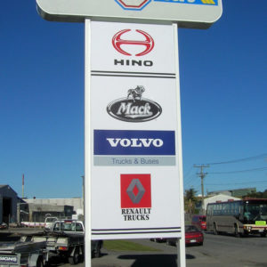 Truck brands on roadside sign